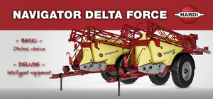 Limited edition of sprayer Hardi Navigator with Delta Force booms